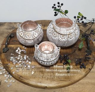 Woonaccessoires Metalen windlichtjes White-Gold distressed 3-delig
