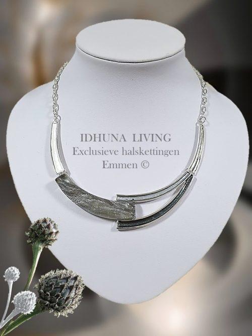 Moderne dames halsketting halve bogen zilverkleurig-grijstinten 141020