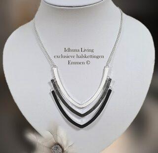 Elegante halsketting dames zilverkleurig met zwart grijs en wit emaille 12321
