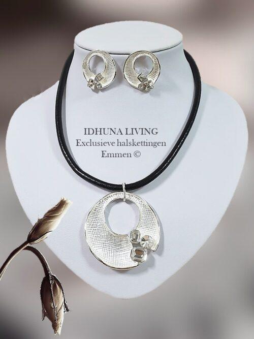"""Dames halsketting en oorbellen Sieradenset in zwart-zilver """"ELISE"""" 12321"""