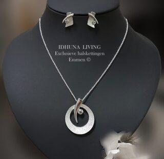 Dames halsketting en oorbellen zilverkleurig Sieradenset Ariane 1120