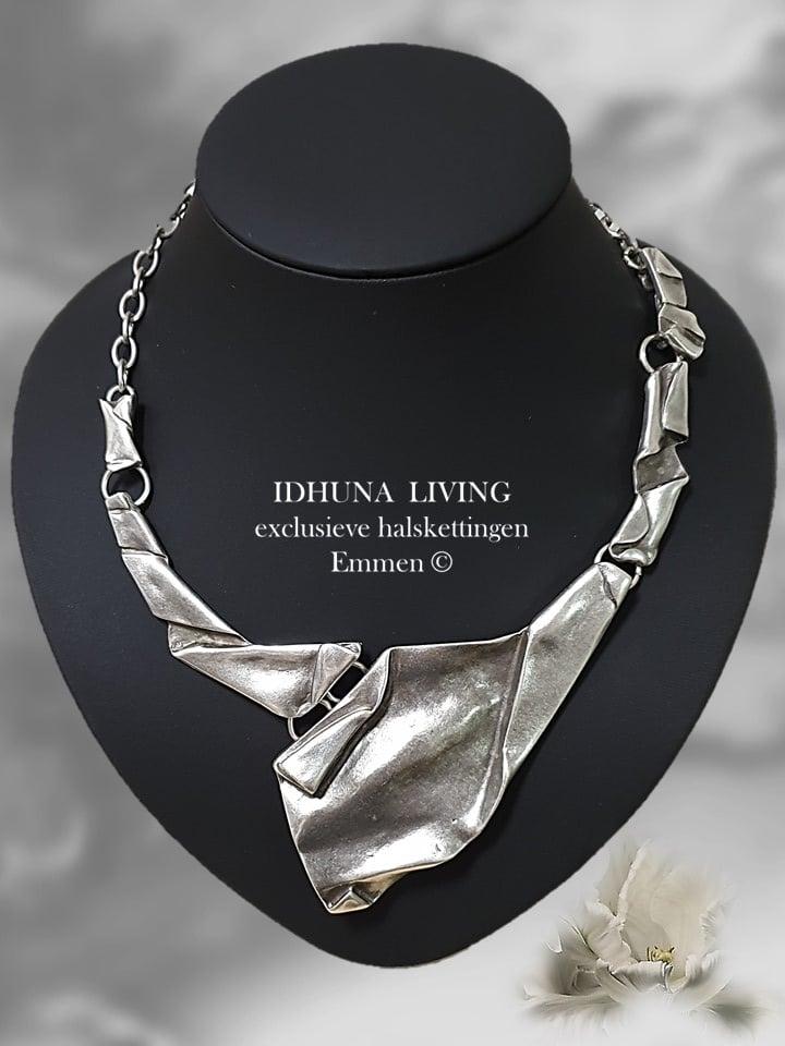 Dames halsketting-collier Zilverkleurig Tyra Handgemaakt en beeldschoon 191020