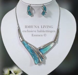 Dames halsketting en oorbellen turquoise-zilver met acryl decoratie 5721