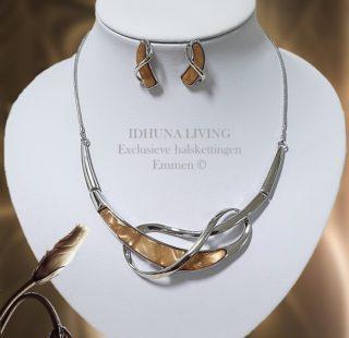 Dames halsketting met oorbellen Zilver-cognac PERNEL sieradenset