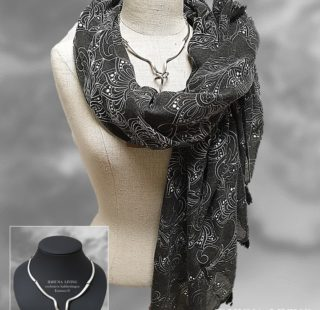 Dames sjaal lang antraciet-wit Luxe en elegant 185 x 85 cm