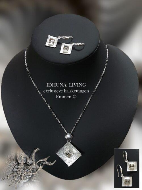 Fijne dames halsketting DORY met geslepen acrylsteentjes Zilverkleurig