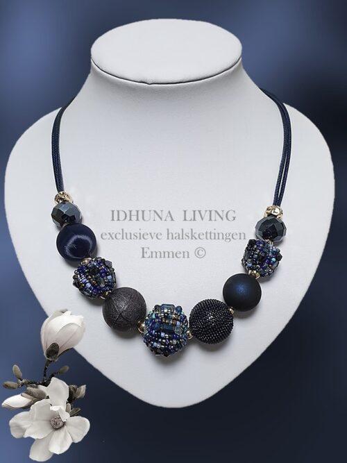 Halsketting dames in diverse blauwtinten Elegant en apart 50 + 7 cm.