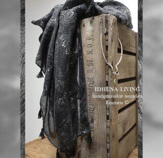Dames sjaal lang antraciet-wit Luxe en elegant 185 x 85 cm 81021