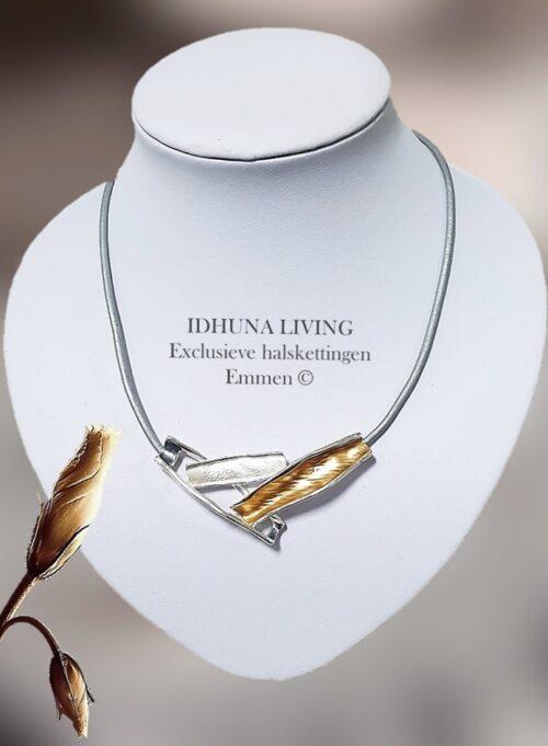 Korte halsketting dames goud-zilver en wit kleurig met grijs koord