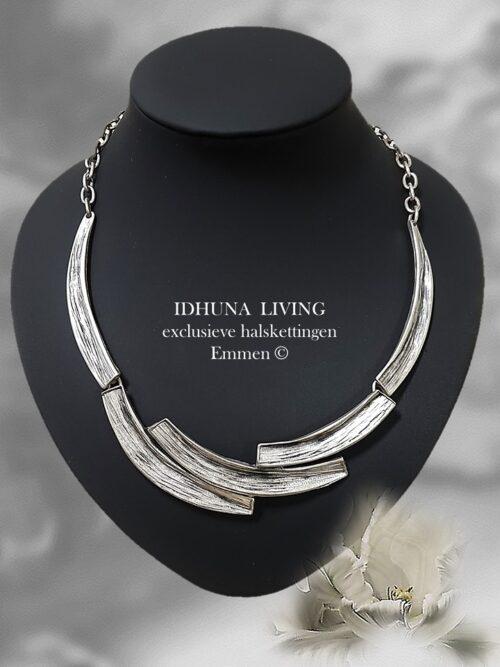 Handgemaakte halsketting dames Kleur vintage zilver halve bogen