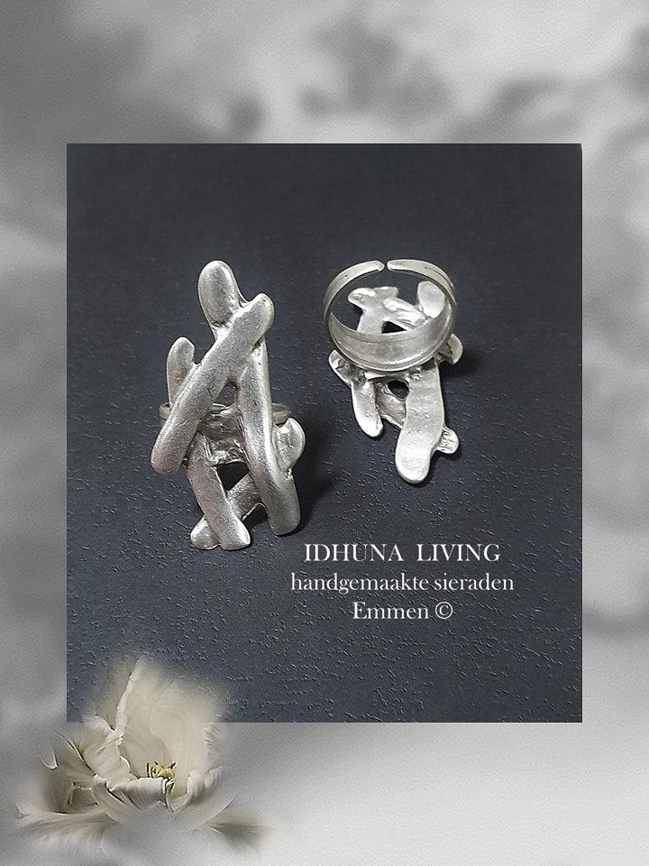 Handgemaakte sieraden Dames ring met staafjes Verstelbaar zilverkleurig