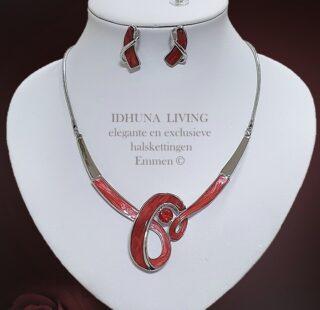Dames halsketting en oorbellen rood-zilver Prachtige elegante vormgeving