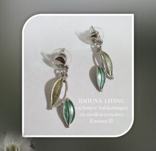 Oorbellen hangers dames blaadjes in zilver-groentinten Stekers