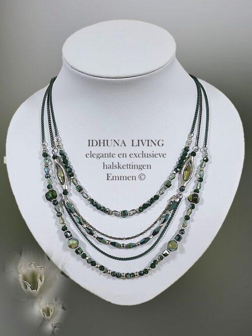 Dames halsketting 3 lagen in div groentinten Elegant en modieus