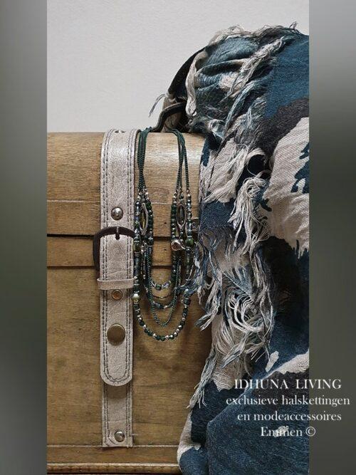Dames sjaal lang donkergroen-beige 175 x 90 cm Elegant en chique-1-