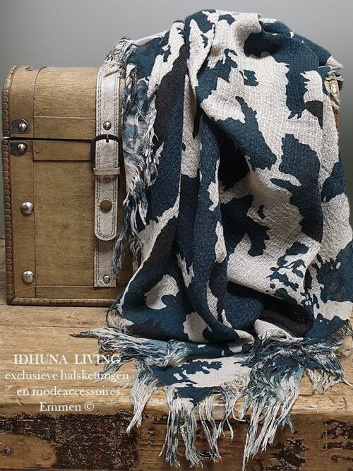 Dames sjaal lang donkergroen-beige 175 x 90 cm Elegant en chique