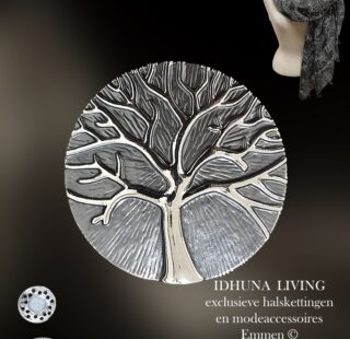 Modeaccessoires Dames magneet broche grijs-zilver met levensboom